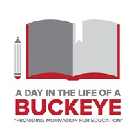 "A Day in the Life of a Buckeye with an open book and pencil with ""Dedicated to motivating young minds."" (2015 version)"