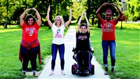 Buck-I-Experience photo showing a diverse group of students doing O-H-I-O