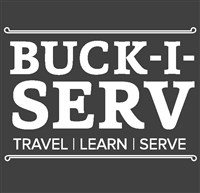 "Buck-I-SERV (2015) also with the text ""Travel, Learn, Serve."""