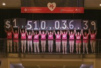 BuckeyeThon 2017 reveal with students holding signs for $1,510,036.39