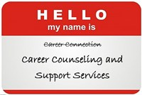 "Career Counseling and Support Services name change on a ""hello my name is"" badge"