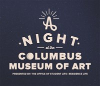 A Night at the Columbus Museum of Art on a starry background