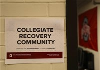 Collegiate Recovery Community photo of sign on entrance to their offices
