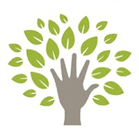 Growth icon-a drawing of an outstretched hand reaching out to leaves