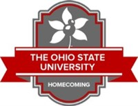 Homecoming seal with banner and drawn buckeye leaf and nuts-no year