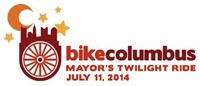 Mayor's Twilight Ride 2014 with the Columbus skyline above a bicycle wheel and moon and stars in the sky