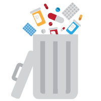 Medical Disposal Day 2016 showing a trash can with pills and pill bottles