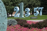 Numbers sculptures on campus