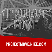 Project Move over the Nike swoosh with the url projectmove.nike.com in the lower third