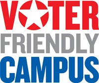 Voter Friendly Campus with a star for the O in voter
